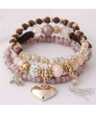 Golden Peach Heart Pendant Sweet Triple Layers High Fashion Bracelet - Khaki