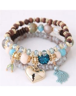Golden Peach Heart Pendant Sweet Triple Layers High Fashion Bracelet - Sky Blue