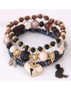 Golden Peach Heart Pendant Sweet Triple Layers High Fashion Bracelet - Black