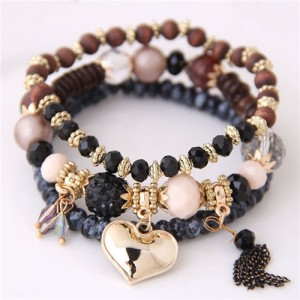 Golden Peach Heart Pendant Sweet Triple Layers High Fashion Bracelet - Black