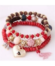 Golden Peach Heart Pendant Sweet Triple Layers High Fashion Bracelet - Red