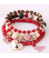 Golden Peach Heart Pendant Sweet Triple Layers High Fashion Bracelet - Red