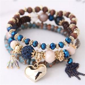 Golden Peach Heart Pendant Sweet Triple Layers High Fashion Bracelet - Blue