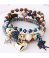 Golden Peach Heart Pendant Sweet Triple Layers High Fashion Bracelet - Blue