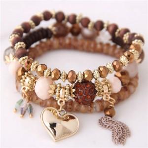 Golden Peach Heart Pendant Sweet Triple Layers High Fashion Bracelet - Brown
