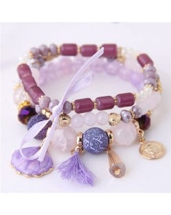 Tassel and Seashell Assorted Pendants High Fashion Bracelet - Purple