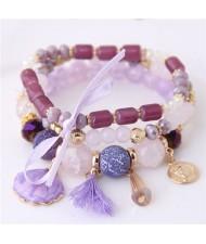 Tassel and Seashell Assorted Pendants High Fashion Bracelet - Purple