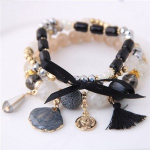 Tassel and Seashell Assorted Pendants High Fashion Bracelet - Black