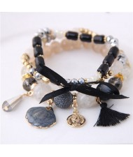 Tassel and Seashell Assorted Pendants High Fashion Bracelet - Black