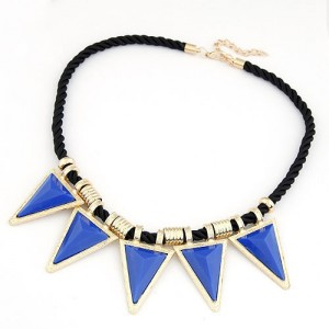 Blue Fashion Resin Triangles Pendants Necklace
