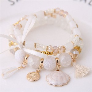 Tassel and Seashell Assorted Pendants High Fashion Bracelet - White