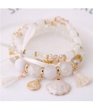 Tassel and Seashell Assorted Pendants High Fashion Bracelet - White