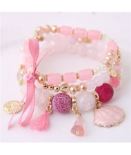 Tassel and Seashell Assorted Pendants High Fashion Bracelet - Pink