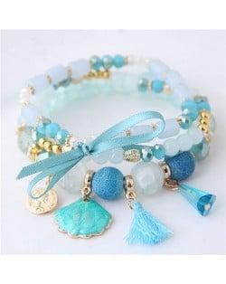 Tassel and Seashell Assorted Pendants High Fashion Bracelet - Blue