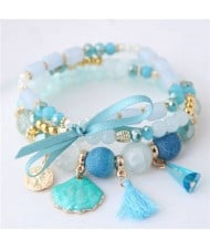 Tassel and Seashell Assorted Pendants High Fashion Bracelet - Blue