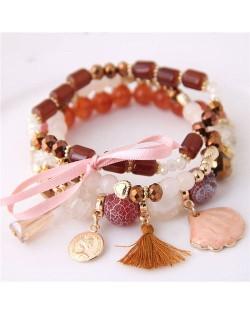 Tassel and Seashell Assorted Pendants High Fashion Bracelet - Brown