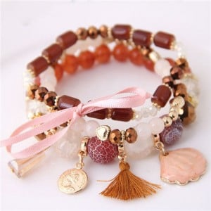 Tassel and Seashell Assorted Pendants High Fashion Bracelet - Brown