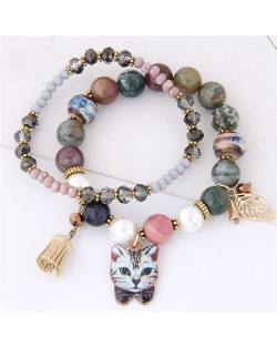 Porcelain Cat Head Pendant Dual Layers High Fashion Bracelet - Gray