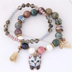Porcelain Cat Head Pendant Dual Layers High Fashion Bracelet - Gray