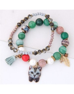 Porcelain Cat Head Pendant Dual Layers High Fashion Bracelet - Green