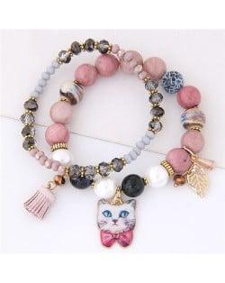 Porcelain Cat Head Pendant Dual Layers High Fashion Bracelet - Pink