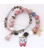 Porcelain Cat Head Pendant Dual Layers High Fashion Bracelet - Pink