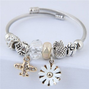 Daisy and Plane Pendants Beads Fashion Bracelet - White