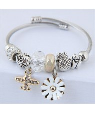 Daisy and Plane Pendants Beads Fashion Bracelet - White