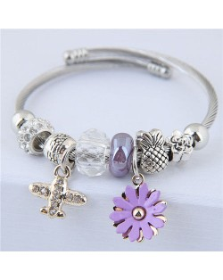 Daisy and Plane Pendants Beads Fashion Bracelet - Purple