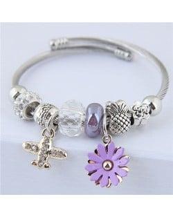Daisy and Plane Pendants Beads Fashion Bracelet - Purple
