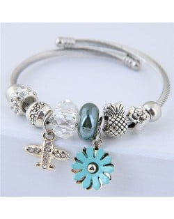 Daisy and Plane Pendants Beads Fashion Bracelet - Blue