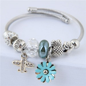 Daisy and Plane Pendants Beads Fashion Bracelet - Blue