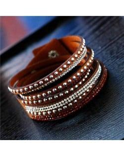 Rhinestone and Studs Multi-layer Leather Fashion Bracelet - Brown