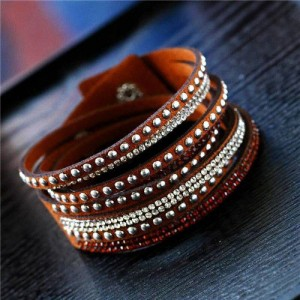 Rhinestone and Studs Multi-layer Leather Fashion Bracelet - Brown