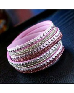 Rhinestone and Studs Multi-layer Leather Fashion Bracelet - Pink