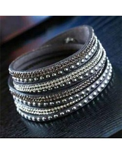 Rhinestone and Studs Multi-layer Leather Fashion Bracelet - Gray
