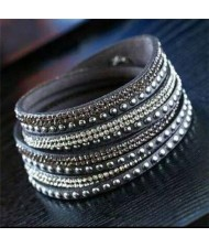 Rhinestone and Studs Multi-layer Leather Fashion Bracelet - Gray