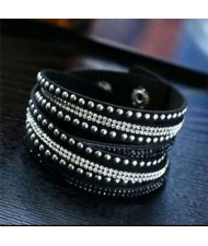 Rhinestone and Studs Multi-layer Leather Fashion Bracelet - Black