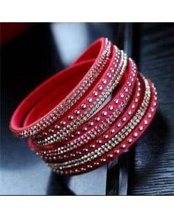Rhinestone and Studs Multi-layer Leather Fashion Bracelet - Rose