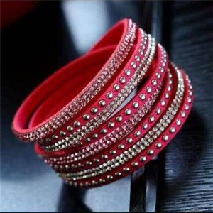 Rhinestone and Studs Multi-layer Leather Fashion Bracelet - Rose