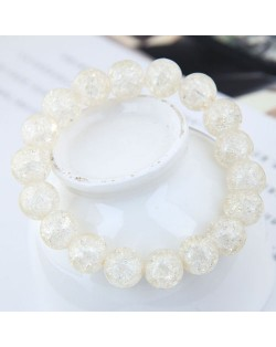 Sweet Fashion Floral Glass Ball Women Bracelet - White