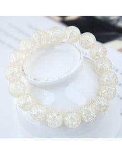Sweet Fashion Floral Glass Ball Women Bracelet - White