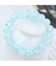 Sweet Fashion Floral Glass Ball Women Bracelet - Blue