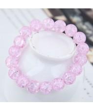 Sweet Fashion Floral Glass Ball Women Bracelet - Violet
