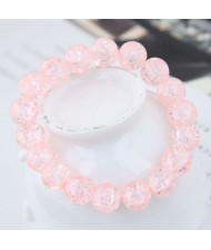 Sweet Fashion Floral Glass Ball Women Bracelet - Pink