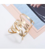 Punk Fashion Hollow Style Wide Design Open-end Alloy Bracelet - Golden