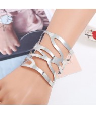 Punk Fashion Hollow Style Wide Design Open-end Alloy Bracelet - Silver