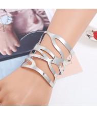 Punk Fashion Hollow Style Wide Design Open-end Alloy Bracelet - Silver