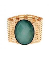 Resin Gem Inlaid Elastic Design Golden High Fashion Bracelet