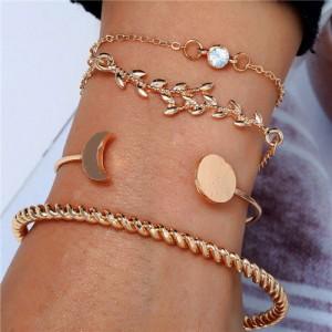 Twig and Moon Design Four Pieces Golden Bracelet Combo Set